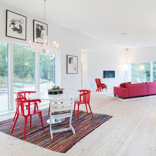 Idéer för stora funkis allrum med öppen planlösning, med vita väggar och ljust trägolv