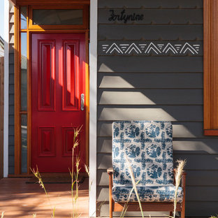 Inspiration for a small contemporary front porch remodel in Newcastle - Maitland with decking