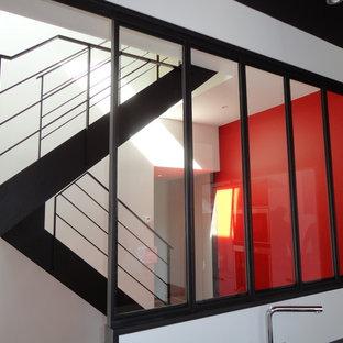 Escalier Acier - Bois et palier intermédiaire Verre - Verrière intérieure