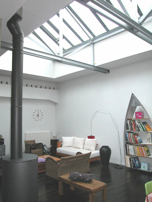 industrial wintergarten mit kaminofen ideen design bilder houzz. Black Bedroom Furniture Sets. Home Design Ideas
