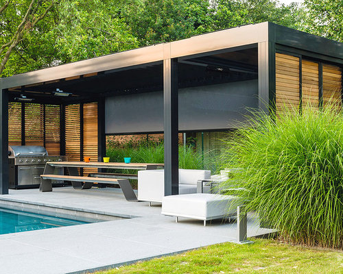 porche contemporain avec une pergola photos et id es d co de porches. Black Bedroom Furniture Sets. Home Design Ideas