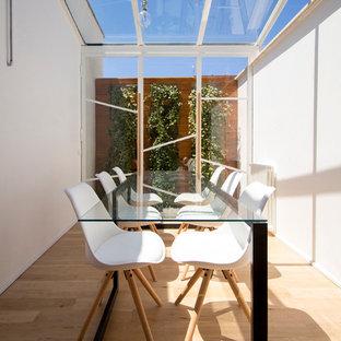 Idee per una veranda design di medie dimensioni con parquet chiaro e soffitto in vetro
