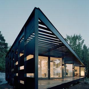 Idee per un grande portico nordico dietro casa con pedane e una pergola
