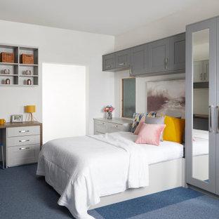 Ejemplo de armario unisex, actual, con armarios estilo shaker, puertas de armario grises, moqueta y suelo azul