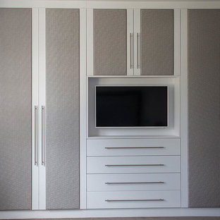 Exemple d'un grand dressing room tendance avec un placard avec porte à panneau surélevé et des portes de placard grises.