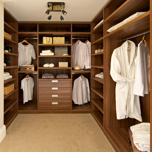 Inspiration for a contemporary gender neutral walk-in wardrobe in London with open cabinets, medium wood cabinets and carpet.