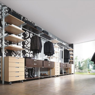 Reach-in closet - large contemporary women's terra-cotta floor reach-in closet idea in Glasgow with open cabinets and light wood cabinets