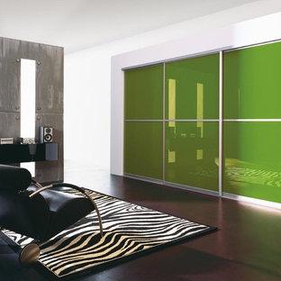Foto di un grande armadio o armadio a muro unisex minimal con ante di vetro, ante verdi e parquet scuro