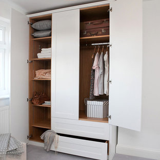 Wardrobe in Berkshire with carpet and shaker cabinets.