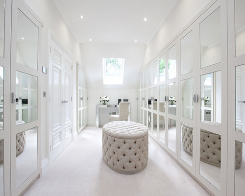 Inspiration For A Large Classic Dressing Room For Women In Berkshire With  White Cabinets And Carpet