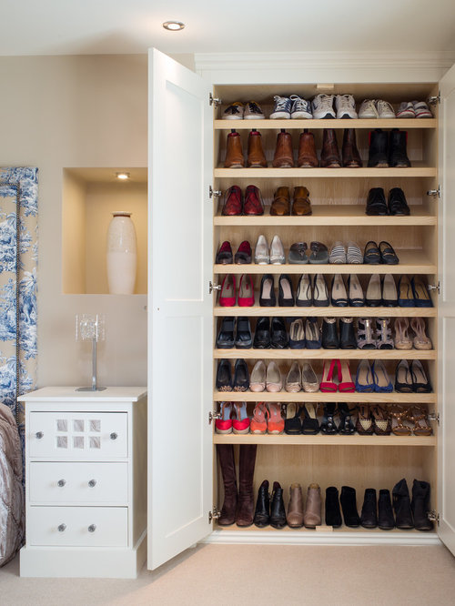 Transitional Gender Neutral Carpeted And Beige Floor Closet Idea In Other  With Shaker Cabinets And