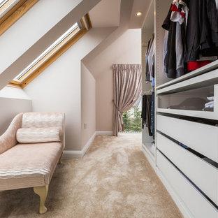 Diseño de armario vestidor unisex, tradicional renovado, pequeño, con armarios con paneles lisos, puertas de armario grises, moqueta y suelo beige