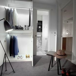 Closet - mid-sized contemporary carpeted closet idea in London
