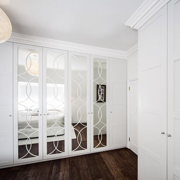 TRADITIONAL SHAKER STYLE WARDROBES WITH LACQUERED DOORS, HAMPSTEAD