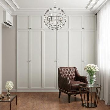 Walk In wardrobe with shaker style doors