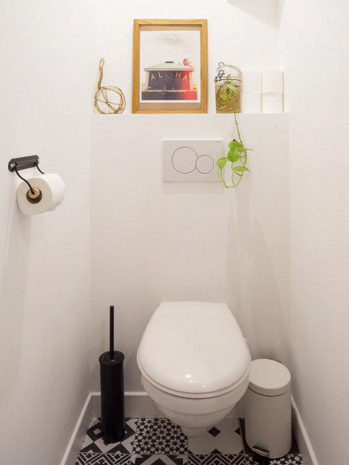 Photos Et Id Es D Co De Wc Et Toilettes Avec Un Carrelage Noir Et Blanc France