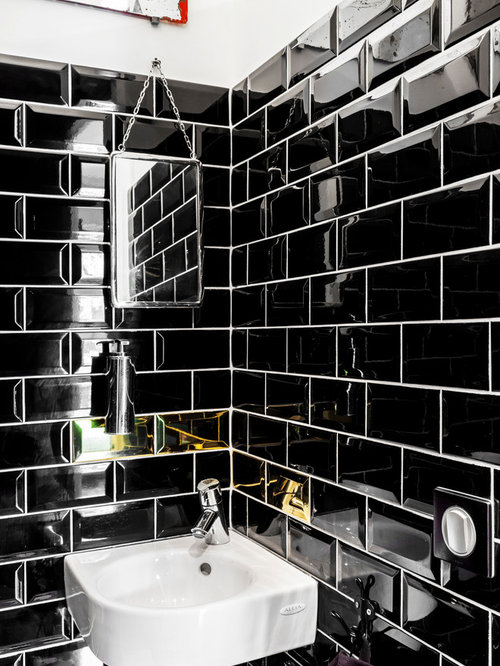 photos et id es d co de wc et toilettes avec un carrelage m tro. Black Bedroom Furniture Sets. Home Design Ideas