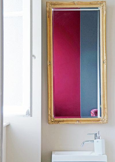 Transitional Powder Room by Christel Mauve Photographe