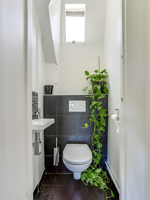 Cloakroom Design Ideas Renovations Amp Photos With Black Tiles