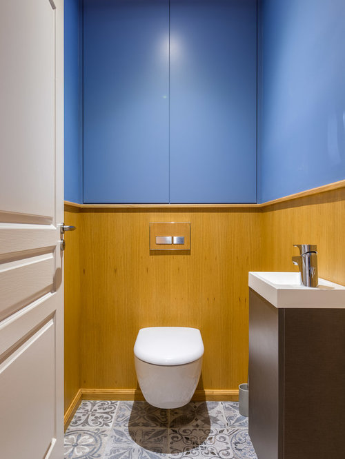 Photos et id es d co de wc et toilettes contemporains for Quelle couleur pour des toilettes