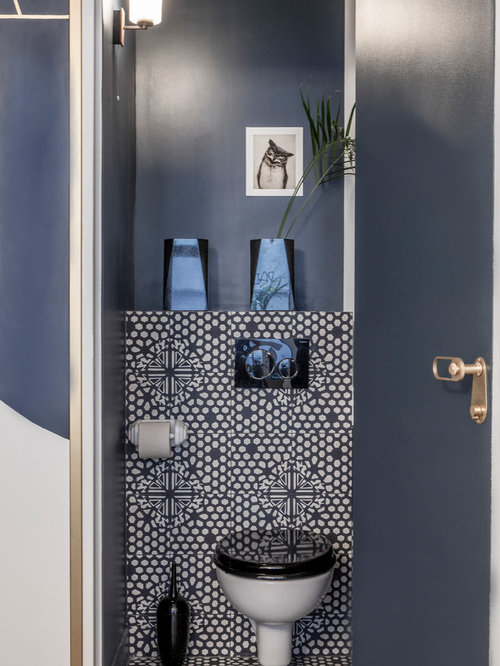 Photos et id es d co de wc et toilettes contemporains avec un placard porte affleurante for Deco wc bleu