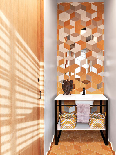 Eclectic Powder Room by Nous Studio