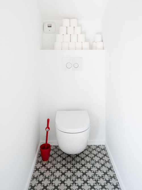 Photos et id es d co de wc et toilettes carreaux ciment - Decoration toilette suspendu ...