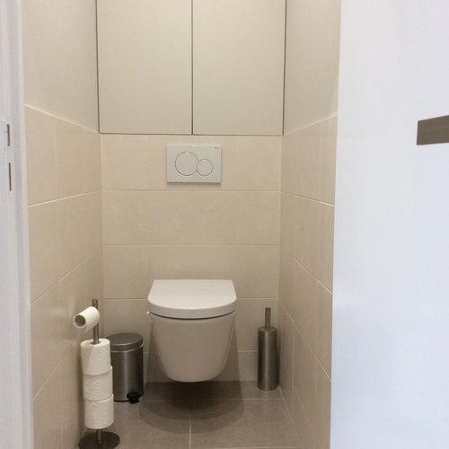 Photos et id es d co de wc et toilettes avec un carrelage for Placard wc suspendu