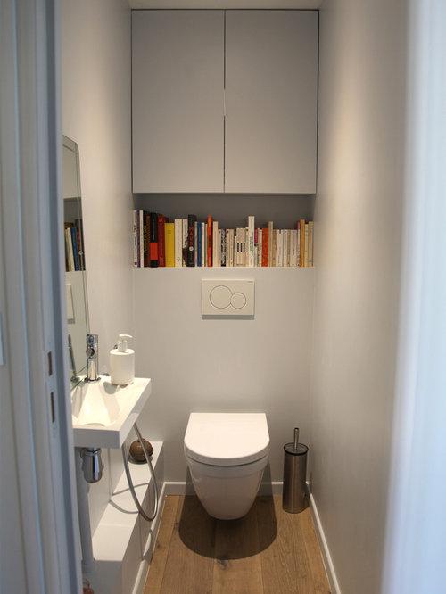 Photos et id es d co de wc et toilettes avec un placard for Placard wc suspendu