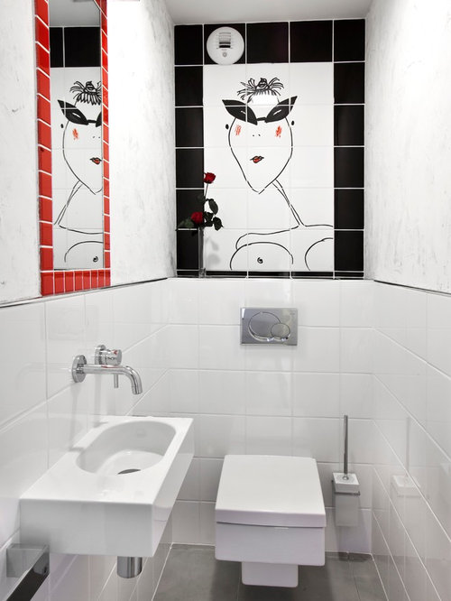 Photos et id es d co de wc et toilettes contemporains for Decoration murale toilette