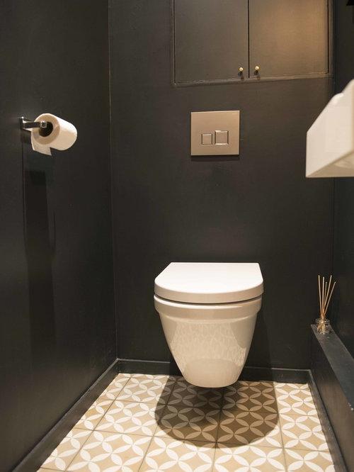 Black Powder Room Design Ideas, Renovations & Photos with Cement Tiles
