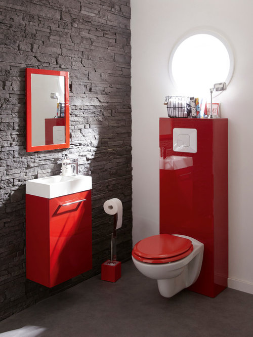 photos et id es d co de wc et toilettes avec un wc suspendu et un mur rouge. Black Bedroom Furniture Sets. Home Design Ideas