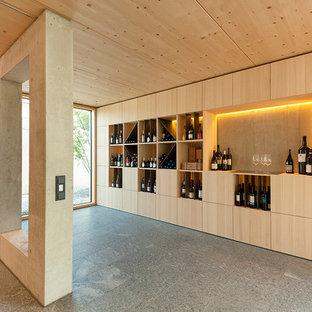 Cette image montre une grand cave à vin nordique avec un présentoir.