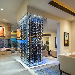 Ispirazione per una cantina design di medie dimensioni con portabottiglie a vista e pavimento grigio