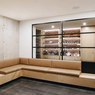 Design ideas for a contemporary wine cellar in Adelaide.