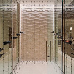 Diseño de bodega clásica renovada, grande, con suelo de baldosas de terracota y vitrinas expositoras