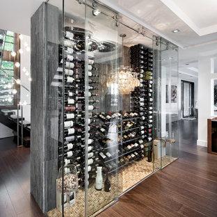オタワの広いコンテンポラリースタイルのワインセラーの画像 (濃色無垢フローリング、ディスプレイラック、茶色い床)