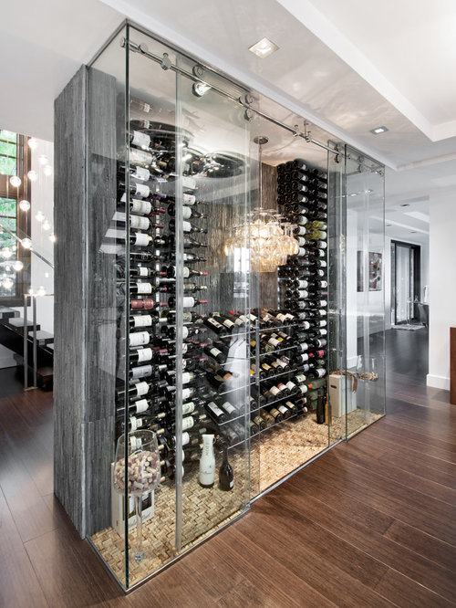 Inspiration For A Large Contemporary Dark Wood Floor And Brown Floor Wine  Cellar Remodel In Ottawa