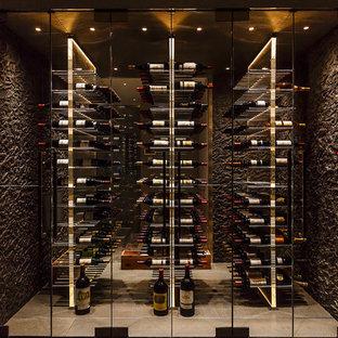 Diseño de bodega actual, grande, con suelo de baldosas de porcelana, suelo gris y botelleros