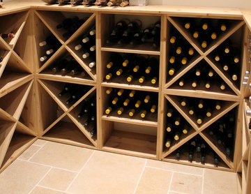 Air conditioned wine cellar in Loxwood using pine wood storage cubes