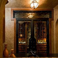 Mediterranean Wine Cellar by Jenkins Custom Homes