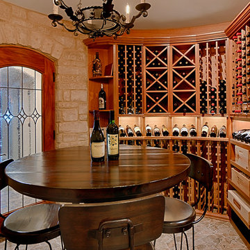 Arch Topped Wine Cellar Door With Custom Leaded Glass Insert