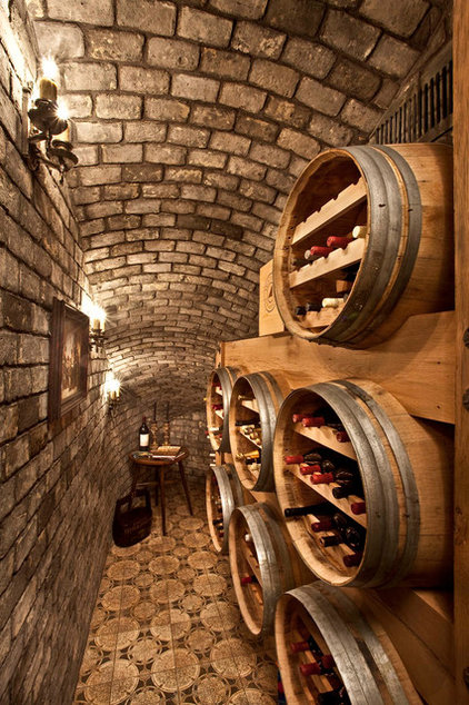 Mediterranean Wine Cellar by Palmer Interior Design