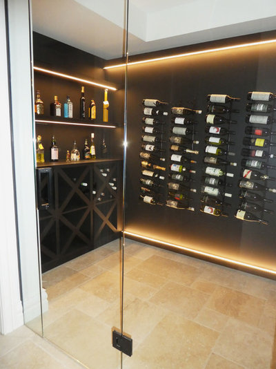 Transitional Wine Cellar by Style Precinct Interior Design & Decoration