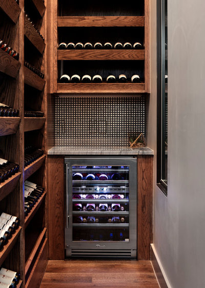 Transitional Wine Cellar by Etch Design Group