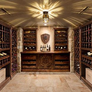 Elegant beige floor wine cellar photo in Milwaukee with storage racks