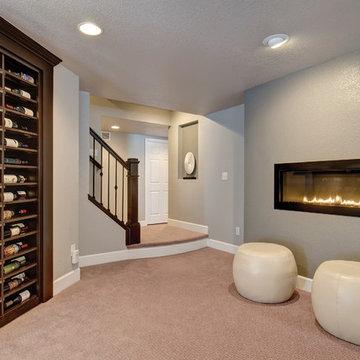 Basement Wine Rack & Fireplace