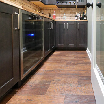 Basement Wine Room with Waypoint Cherry Slate Cabinets