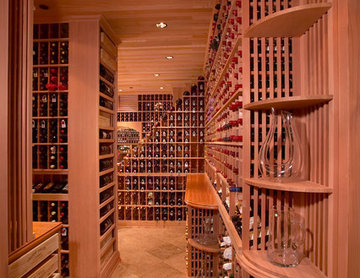Beverly Hills Large Walk in Wine Cellar Traditional Redwood Racking Bordeaux