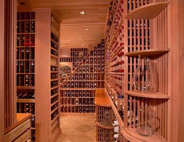 Beverly Hills Traditional Large Walk in Custom Wine Cellar Redwood Wine Room